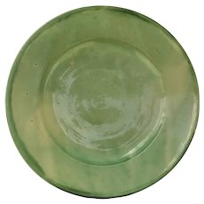 Late 19th Century  Circular Spanish Green Ceramic Bowl
