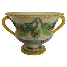 Charming Vintage Footed Urn Compote with Side Handles Swags of Fruit Made in Italy Majolica