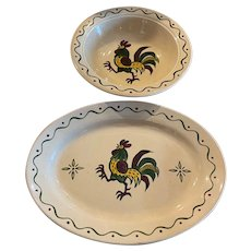 Two Large Serving Pieces Vintage California Provincial Metlox Poppytrail Rooster Platter and Bowl