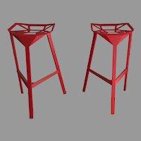 Pair (2) Vintage Designer Konstantin Grcic Italy by Magis Red