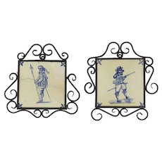 Pair of Blue and White Dutch Tiles in Iron Frames