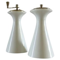 OLYMPIA  Gold Coupe Shaped Salt & Pepper Mill Set Mid Century Lenox