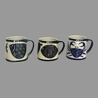 Group of Three Handmade Pottery Mugs Cups with Fish Crab Motif Dated 2001