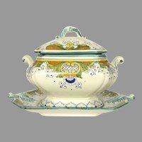 Vintage Italian Faience Pottery Soup Tureen with Underplate