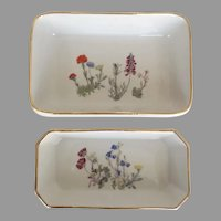 """2 x LOUIS LOURIOUX  Wildflower Casserole  Dishes """"LE FAUNE"""" Made in France"""