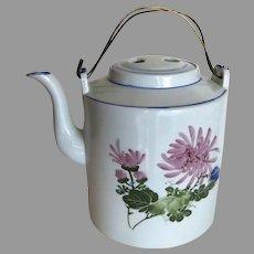 Vintage Older Large Chinese Porcelain Teapot Chrysanthemum Flowers