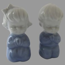 Vintage Inarco Japan Praying Boy and Girl Figurines Blue and White