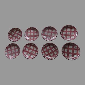 "Set of 8 Vintage Italy Italian Plates Plaid Tartan Check Red Green Blue 8"" Faience Majolica Glaze"