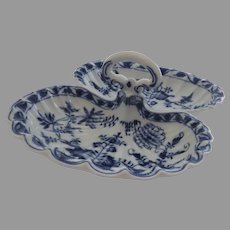 Vintage Older Blue Onion Meissen Two Part Serving Relish Dish Handle Shell