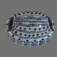 Vintage Oval Blue and White Delft Style Food Mold Hand Painted