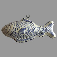 Vintage Porcelain Food Mold Fish Bassano Italy Fish Country Kitchen Wall Hanging
