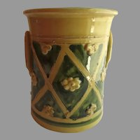 Vintage Large Utensil Holder Vase Glazed Raised Flower Motif Made in Italy Italian