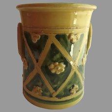 Vintage Large Utensil Holder Vase Glazed Raised Flower Motif Made in Italy Italian