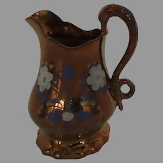 19th Century Copper Lustreware Pitcher Swan Handle Hand Painted Copper Lustre Luster