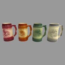 Vintage Set of Four (4) BUDWEISER Anheuser Busch McCoy Ceramic Throw-Away Souvenir Mugs Steins