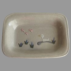Signed Dated MPM Pottery Mountain Meadows Soap Dish Duck Pink Butterflies