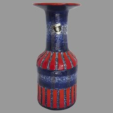Mid Century Modern Florentine Original Mid Century Pottery Vase Hand Painted in Italy