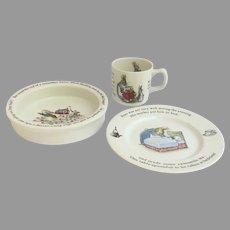 Wedgwood Porcelain Beatrix Potter Peter Rabbit Child's Three Piece Set Bowl Cup Plate