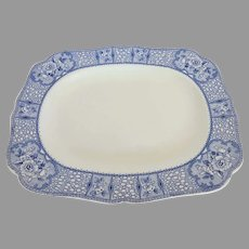 Early 1900's Hollinshead & Kirkham Tunstall Blue and White Quebec Pattern Platter England