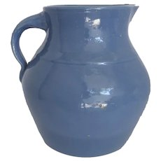 Large Blue Glazed Stoneware Yellow Ware Pitcher Country Primitive Kitchen