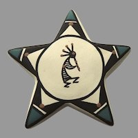 Vintage Pottery Native American Kokopelli Star Ornament Signed