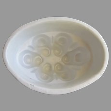 Vintage Ironstone Jelly Food Mold White Swirl Pattern