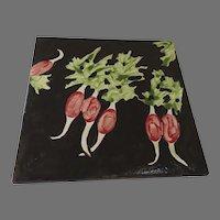 Vintage Dramatic Ceramic Glazed Pottery Trivet Tile Radishes