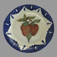 Vintage Mexican Pottery Large Plate with Strawberry Motif