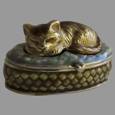 Vintage Enamel Pill Trinket Box Cat by Monet
