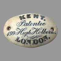 Original Oval Ceramic Plaque from Kents Knife Cleaner English c 1880