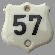 Old Porcelain English Number in Shield Shape Number 57