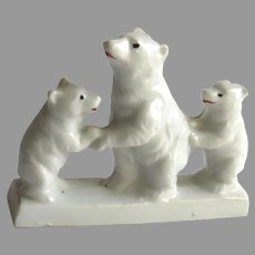 Vintage Three China Polar Bears on Ice Block Made in Japan