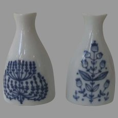 Two Charming Vintage Porsgrund Norway Blue and White Peanut Shaker Vases