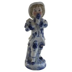 Late 19th Century Conta &  Boehm Young Boy Suitor Blue White Figurine