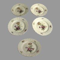 """Vintage Set of Five (5) Royal Copenhagen Frijsenborg Floral 8"""" Salad Plates"""
