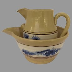 VINTAGE East Knoll Pottery Yellow Ware Pitcher and Batter Bowl Hand Thrown Seaweed