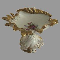 Large Vintage Porcelain Shell Rococo Gold Gilt Pedestal Dish Soap Candy