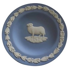 Vintage Wedgwood Blue Jasperware Small Trinket Dish Majestic Ram