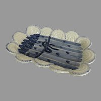 The Potting Shed (Dedham) Concord Massachusetts  Blue and White Asparagus Serving Platter Dish