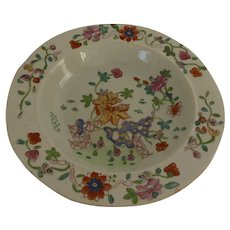 Early Mason's Patent Ironstone Chinoiserie Decorated Shallow Bowl Fence Rock Flower c 1815