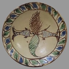 Country Primitive Bowl with Slip Decorated Glaze from Pakistan Fish Motif