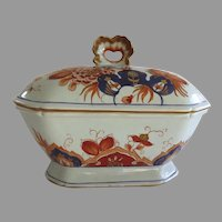English Porcelain Pottery Rectangle Tureen Baby Blue Tone with Orange Dark Blue Gold Flowers Sauce Tureen 19th Century