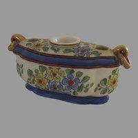 Vintage Gabriel Fourmaintraux Desvres, France Porcelain Inkwell Pen Holder Desk
