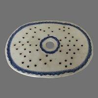 19th Century English Blue Feather Edge Platter Mazarine Drainer