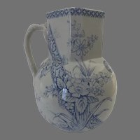 Large English Blue Transfer Jug Pitcher Beatrice Pattern by G. W. Turner & Sons