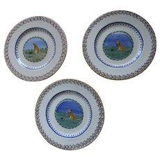 "Three (3) Charming Nicholas Mosse Pottery Kilkenny, Ireland Labrador Dog Landscape Plates 8 1/2"""