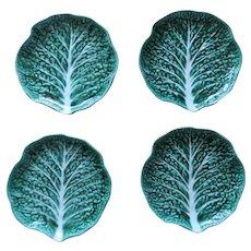 """Vintage Set of 4 Dessert Salad Cabbage Leaf Plated Secla Portugal 7"""""""