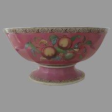 "Monumental English Ironstone Punch Bowl Pink Fruit 19 1/2"" Diameter 19th Century"