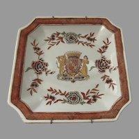 Vintage Square Cut Corners Plate Armorial Raised Glaze