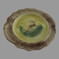 Majolica Cake Plate Platter Dog and Stag Deer